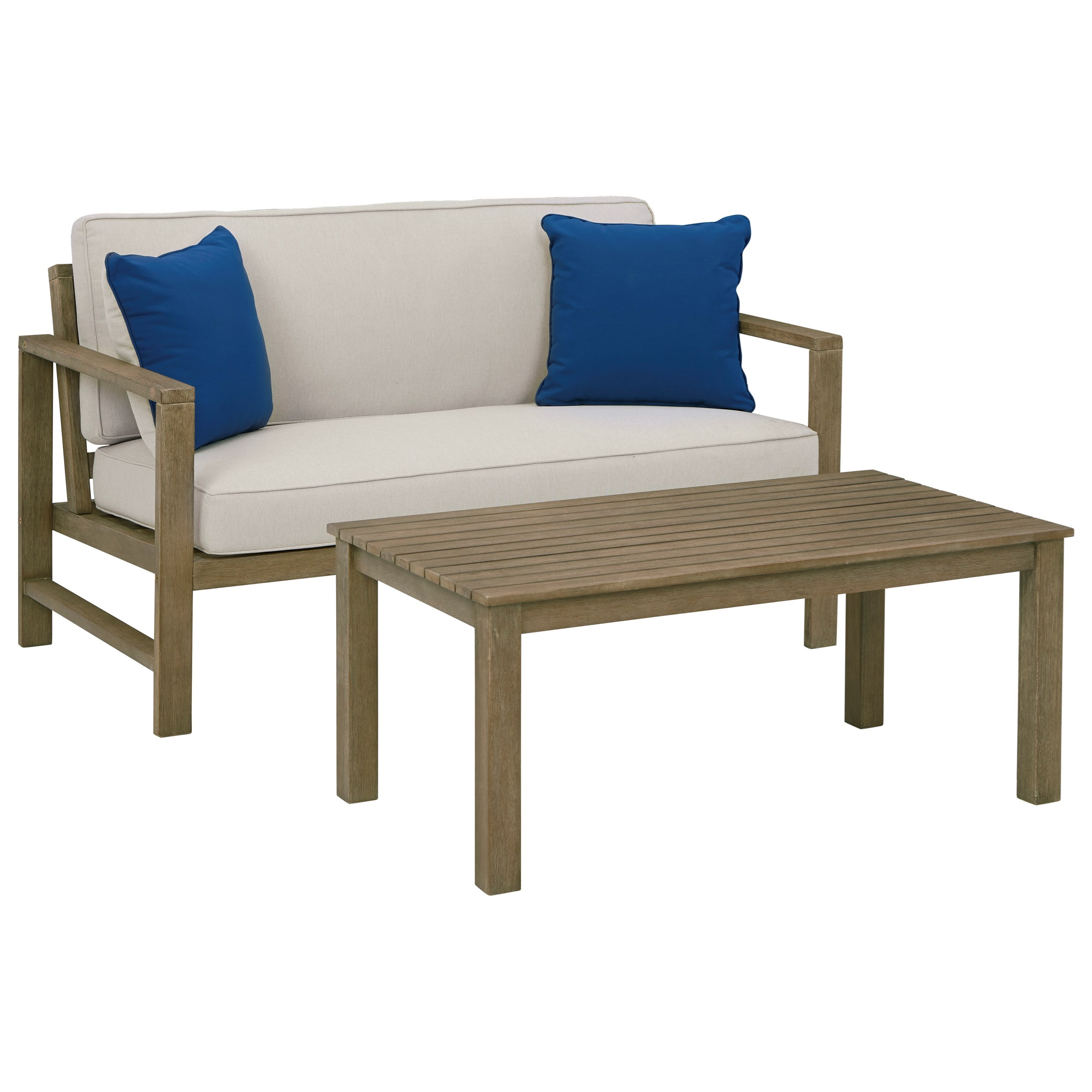 Fynnegan Loveseat w/ Table by Signature at Walker's Furniture