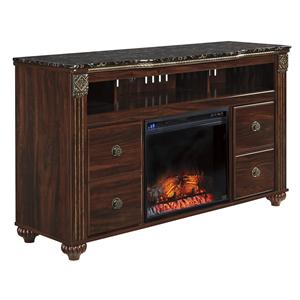 Signature Design by Ashley Gabriela Large TV Stand with Fireplace Insert