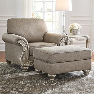 Chair & Ottoman with Silver Finish Ornate Details