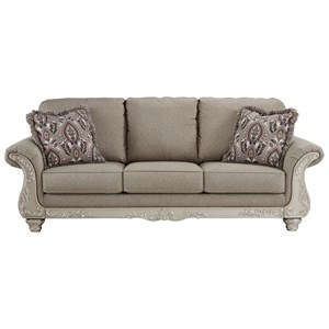 Sofa with Silver Finish Ornate Details