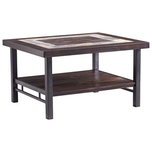 Rectangular Cocktail Table with Slate Tile Inlay