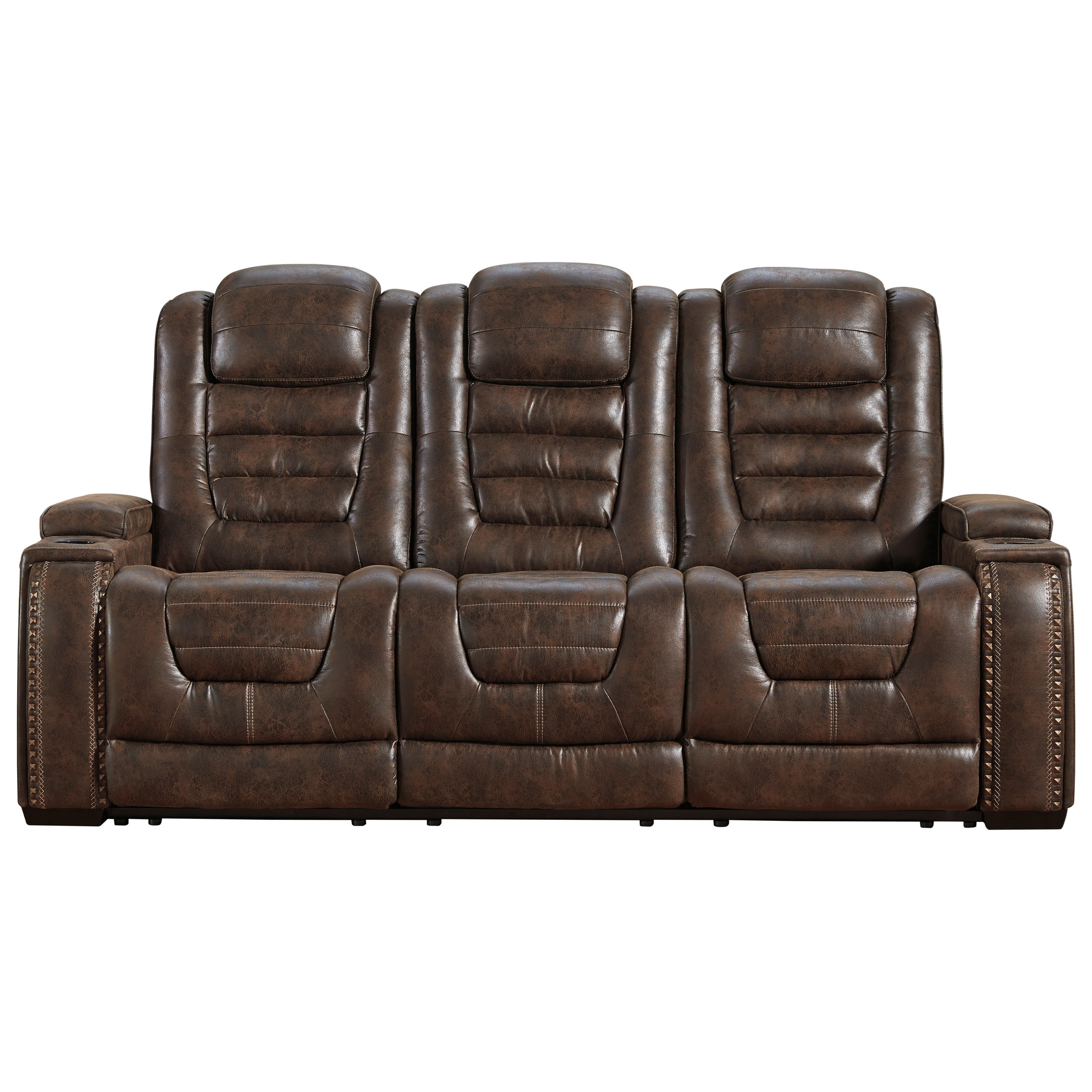 Game Zone Power Reclining Sofa w/ Adjustable Headrests by Ashley (Signature Design) at Johnny Janosik