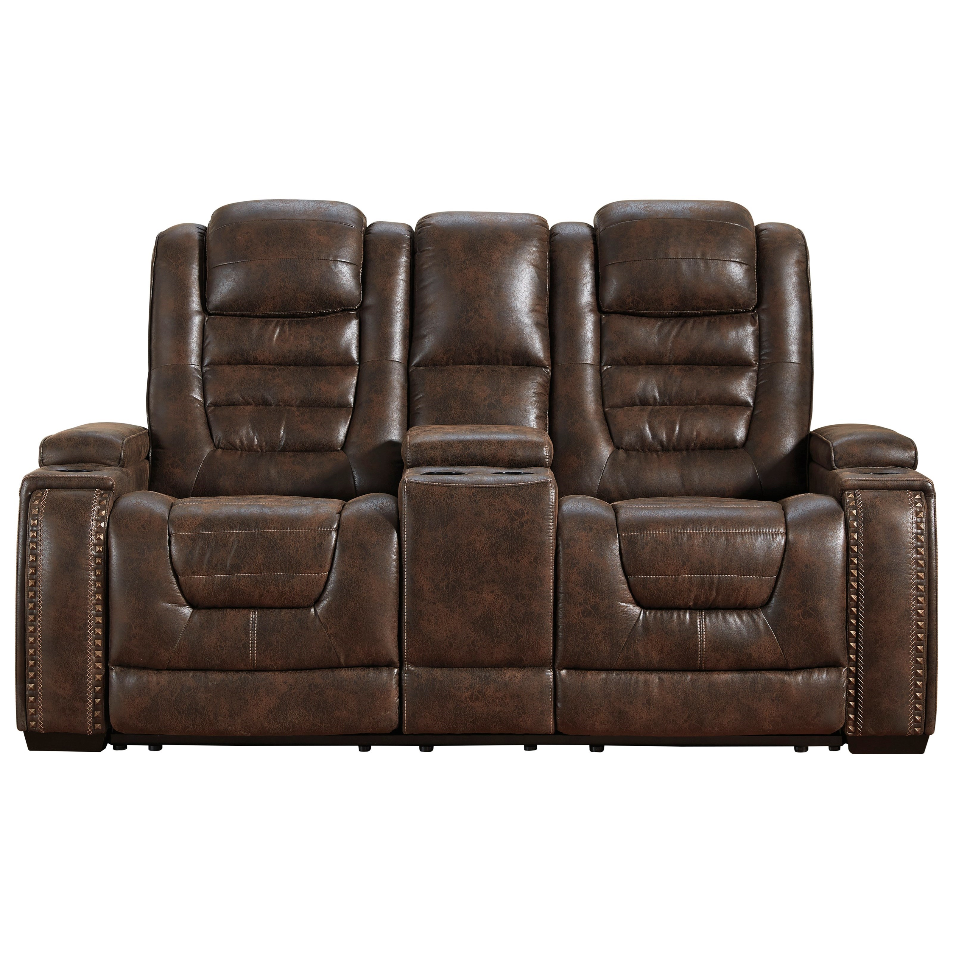 Game Zone Power Reclining Loveseat w/ Cnsl & Adj Hdrst by Signature Design by Ashley at Miller Waldrop Furniture and Decor