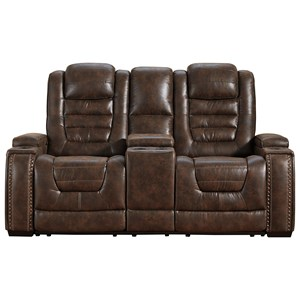 Faux Leather Power Reclining Loveseat w/ Console & Adjustable Headrests