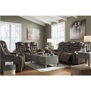 Power Reclining Sofa with Adjustable Headrest and Power Recliner Set