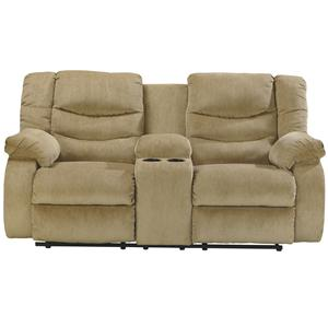 Signature Design by Ashley Garek - Sand Double Reclining Loveseat w/ Console