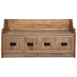 Solid Wood Farmhouse Style Storage Bench