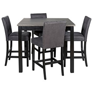 5-Piece Square Counter Height Dining Room Table Set with Bar Stools