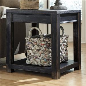 Distressed Black Square End Table with Shelf
