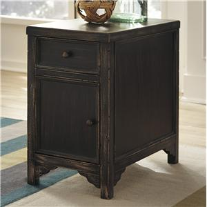 Distressed Chair Side End Table Accent Cabinet