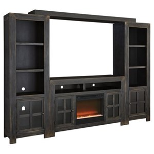 Entertainment Wall Unit w/ Large TV Stand, Fireplace, Bridge, and Piers
