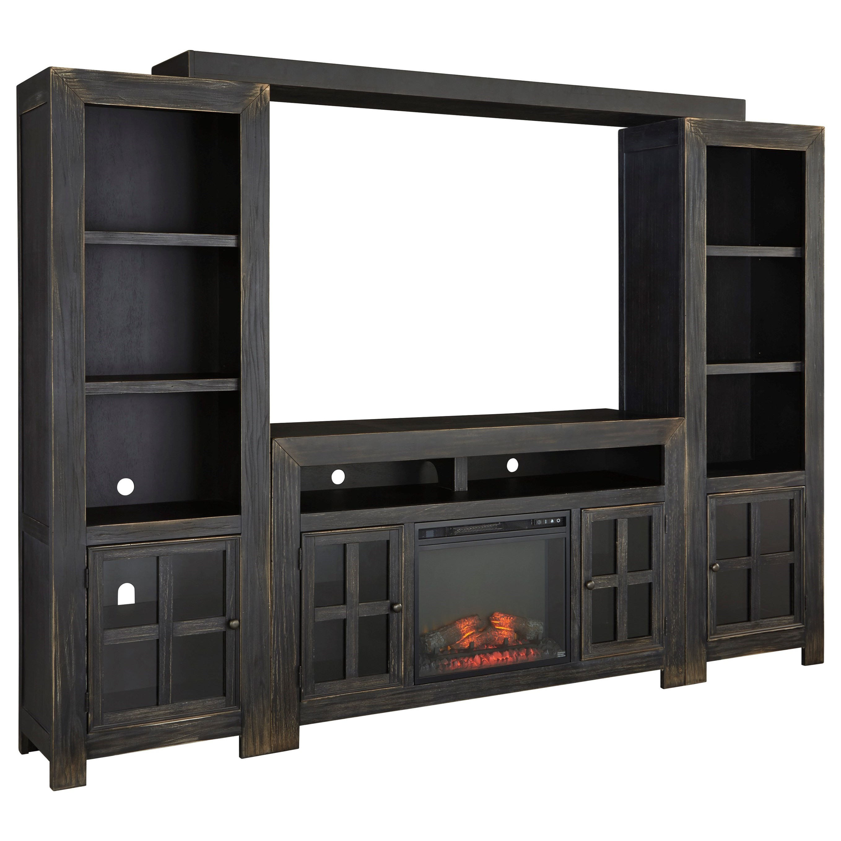 Gavelston TV Stand with Fireplace, Piers & Bridge by Ashley (Signature Design) at Johnny Janosik