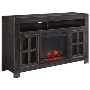 Distressed Black Large TV Stand with Electric Fireplace Unit