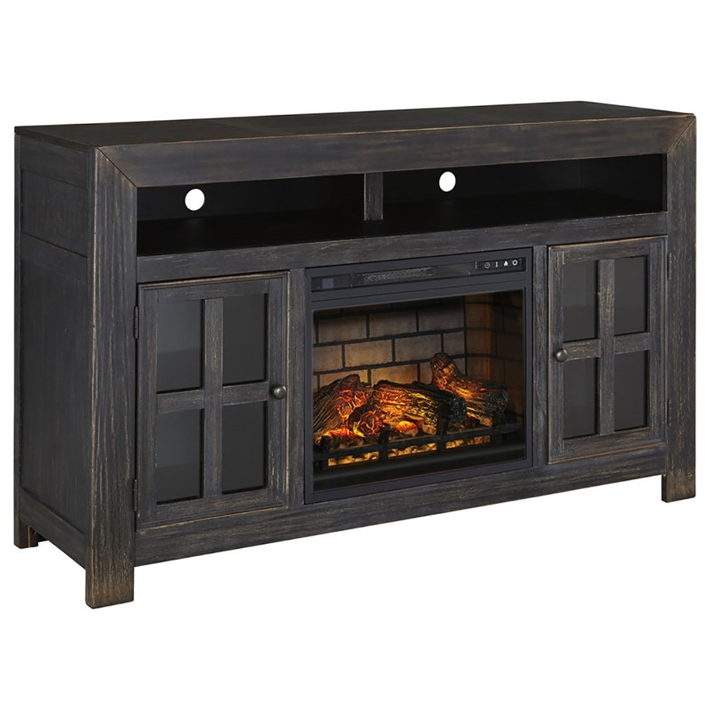 Gavelston Large TV Stand w/ Fireplace Insert by Ashley (Signature Design) at Johnny Janosik