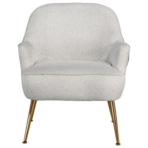 Mid-Century Modern Accent Chair with Gold Finish Metal Legs