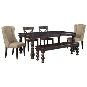Signature Design by Ashley Gerlane 6-Piece Dining Table Set with Bench