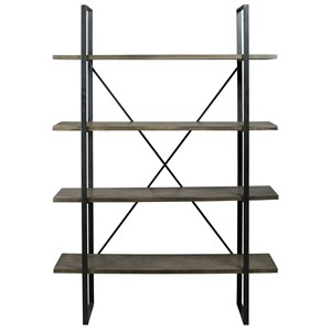 Industrial Metal/Wood Bookcase with 4 Shelves
