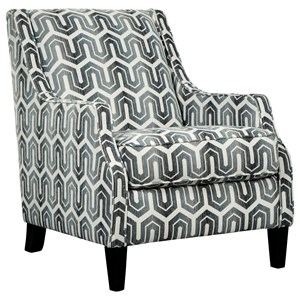 Accent Chair in Geometric Gray Fabric