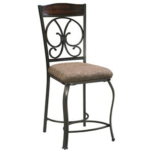 Upholstered Barstool with Metal Accents