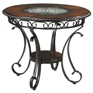 Round Dining Room Counter Table with Metal Accents