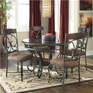 Round Dining Table and 4 Chair Set with Metal Accents