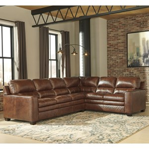 Leather Match L-Shape Sectional