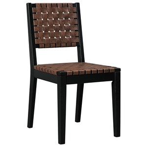 Woven Strap Faux Leather Dining Side Chair with Solid Wood Frame
