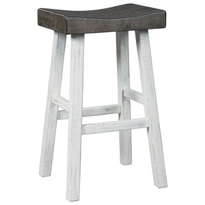 Brown Gray/Antique White Two-Tone Tall Stool