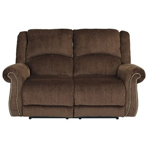 Transitional Power Reclining Loveseat w/ Adj. Headrests & USB Charging