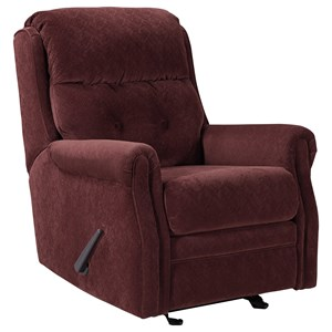 Transitional Glider Recliner with Rolled Arms