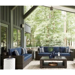 4 Piece Outdoor Sofa and Loveseat with Cushions, Coffee Table and End Table Set
