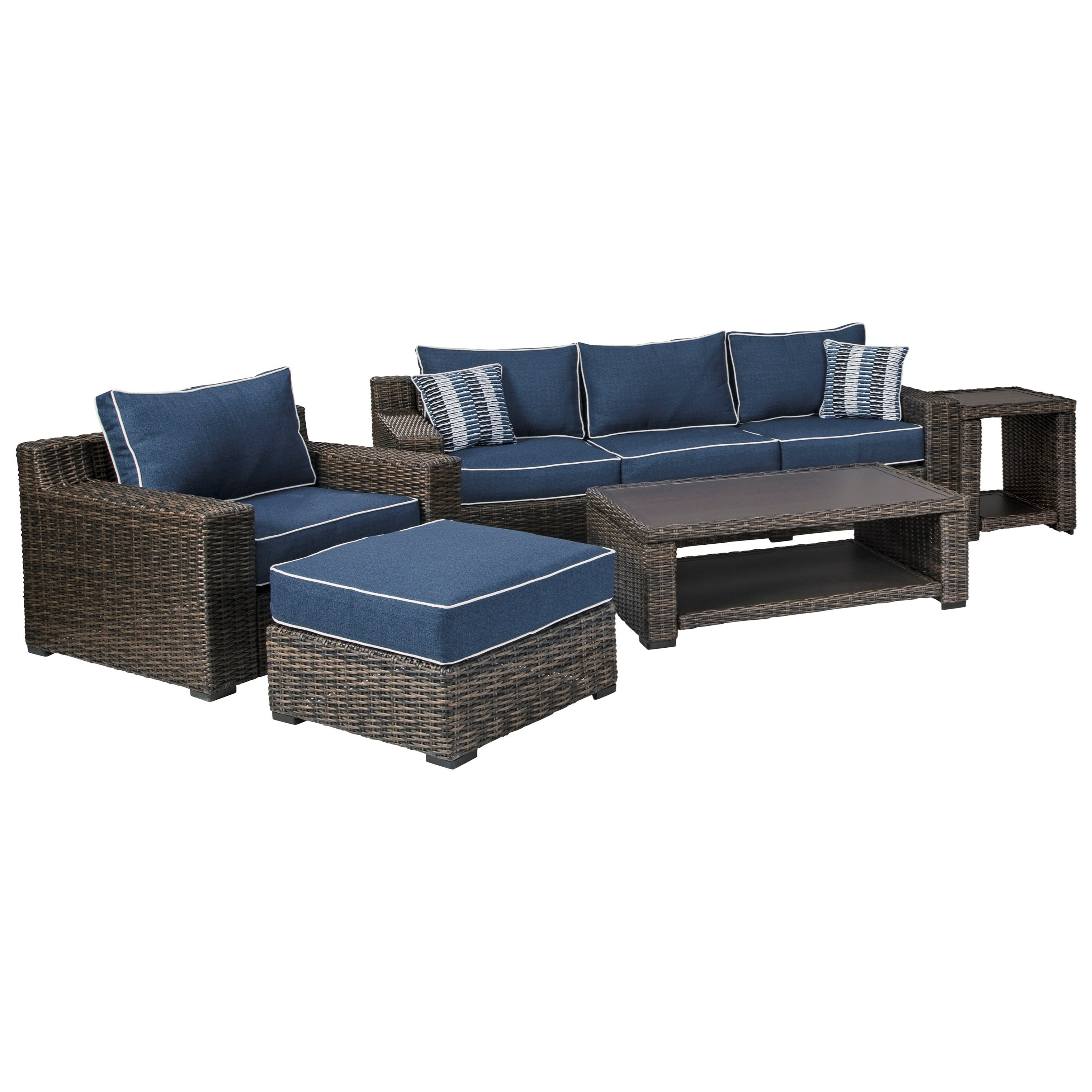 Grasson Lane 5 Pc. Outdoor Seating Group by Signature Design by Ashley at Zak's Home