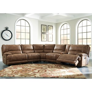 6-Piece Power Reclining Sectional w/ Console in Brown Faux Leather
