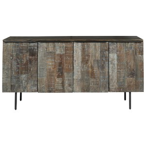 Modern Rustic Solid Wood Accent Cabinet with Metal Legs