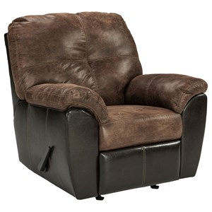 Two Tone Faux Leather Rocker Recliner with Pillow Arms