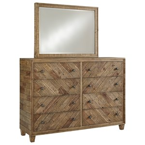 Rustic 8 Drawer Dresser and Mirror Set