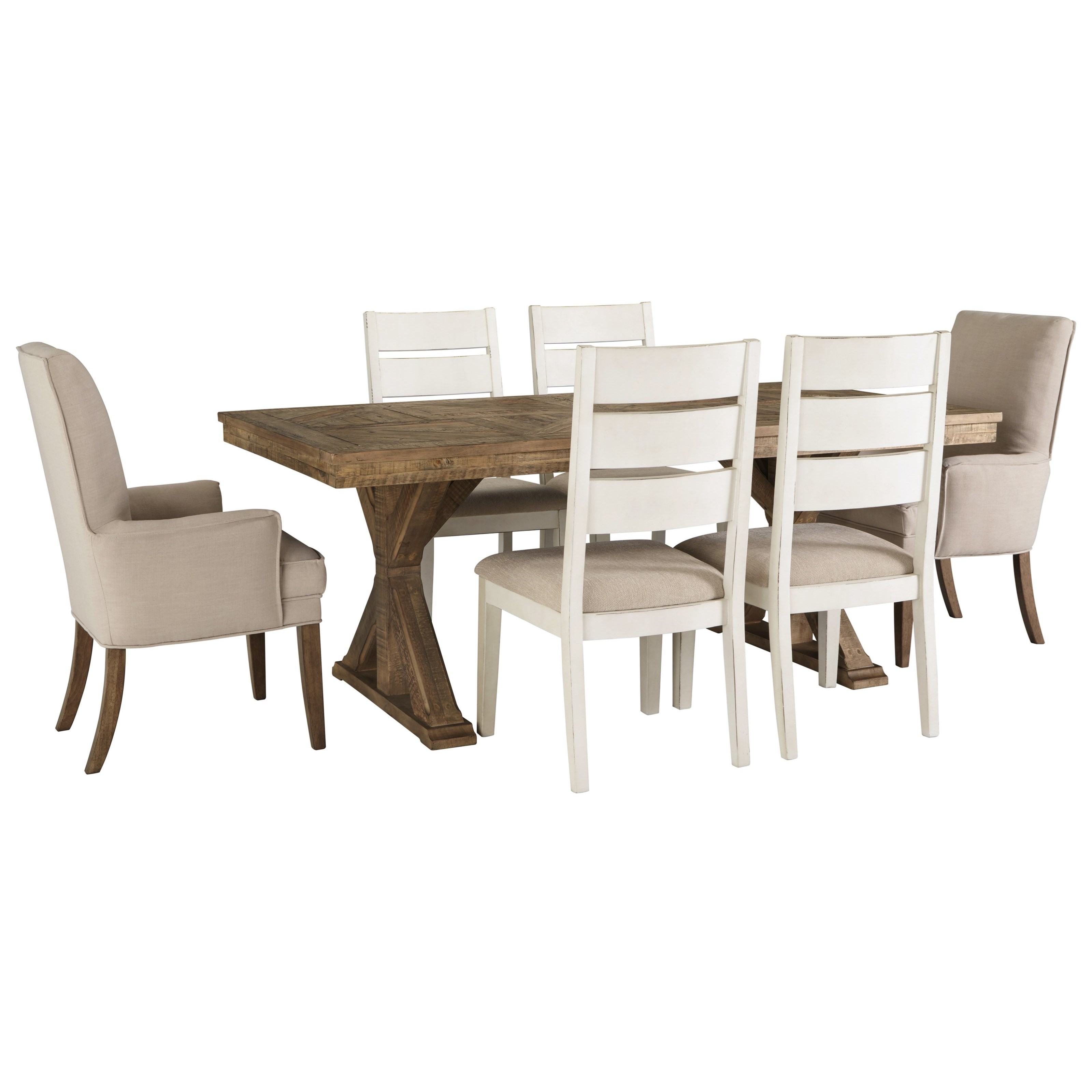 Grindleburg 7 Piece Rectangular Table and Chair Set by Signature Design by Ashley at Lapeer Furniture & Mattress Center