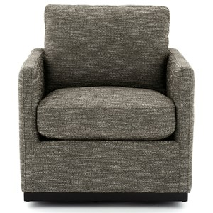 Swivel Accent Chair in Textured Brown Fabric