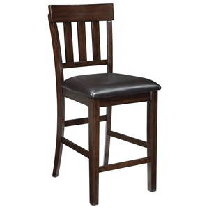 Upholstered Barstool with Slat Back & Faux Leather Seat