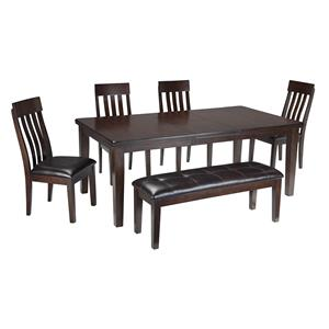 6-Piece Rectangular Dining Room Table w/ 4 Upholstered Dining Side Chairs and Upholstered Dining Bench Set