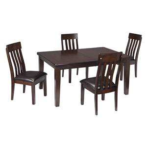 5-Piece Rectangular Dining Room Table w/ Oak Veneers and Upholstered Dining Side Chair w/ Lumbar Curve Set