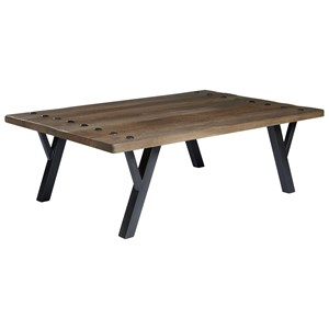 Industrial Solid Wood/Metal Rectangular Cocktail Table