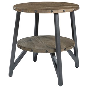 Industrial Solid Wood/Metal Round End Table