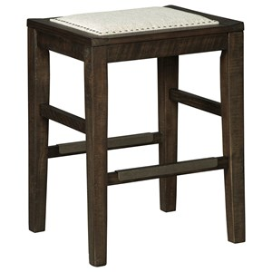 Counter Height Upholstered Stool with Kickplates on Footrest