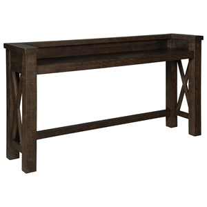 Bar/Counter Height Table with Raised Gallery Rail on 3 Sides