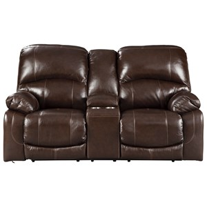 Leather Match Power Reclining Loveseat with Console & Adjustable Headrests