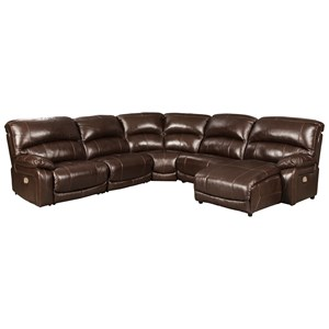 Leather Match 5-Piece Reclining Sectional with Right Chaise