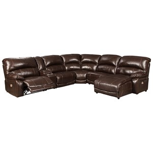 Leather Match 6-Piece Reclining Sectional with Right Chaise & Console