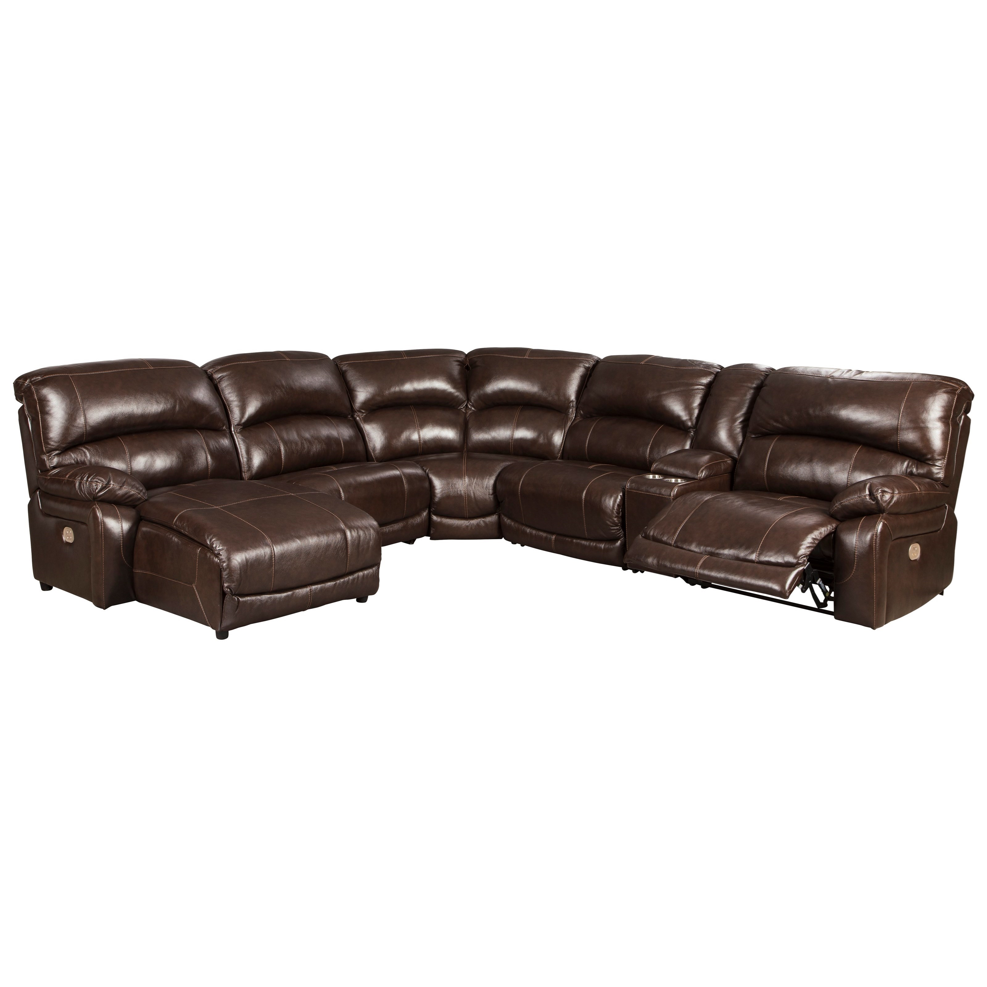Hallstrung 6-Piece Reclining Sectional with Chaise by Signature Design by Ashley at Northeast Factory Direct