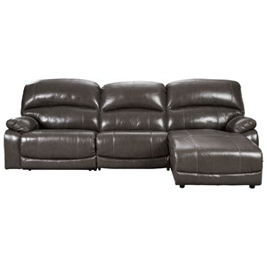 Leather Match 3-Piece Reclining Sectional with Right Chaise